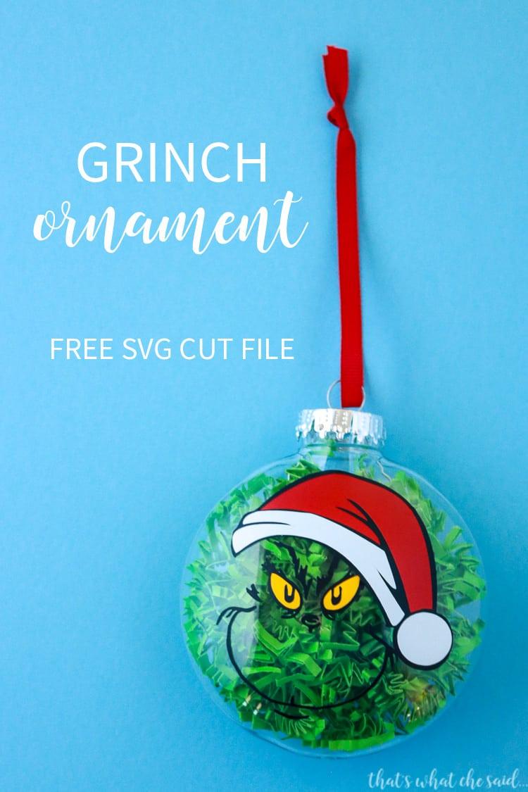 Santa Grinch Ornament + Free SVG Cut File