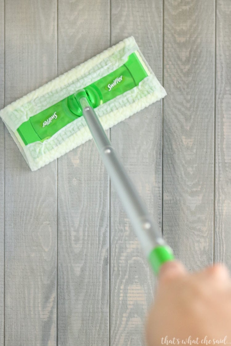 Cleaning Floors with the Swiffer Makes Party Prep A Breeze