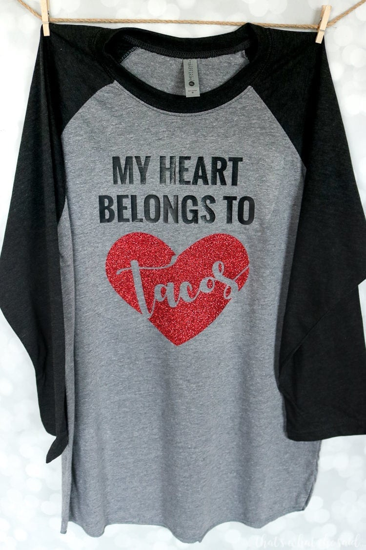 Free Valentine's SVG File for this My Heart Belongs to Tacos Shirt!