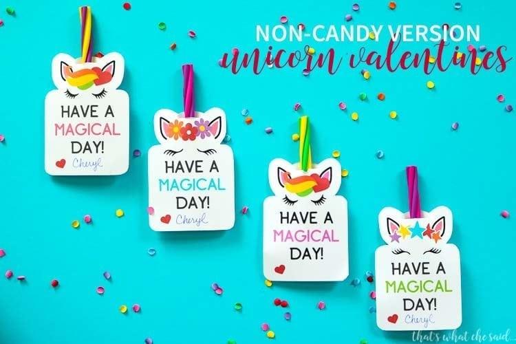 Non-Candy Version of Unicorn Valentines