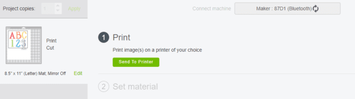 Sending your project to the printer.  This screen allows you to print on your home computer first.