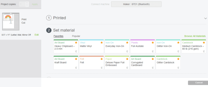 Set Material Screen on CRicut Design Space