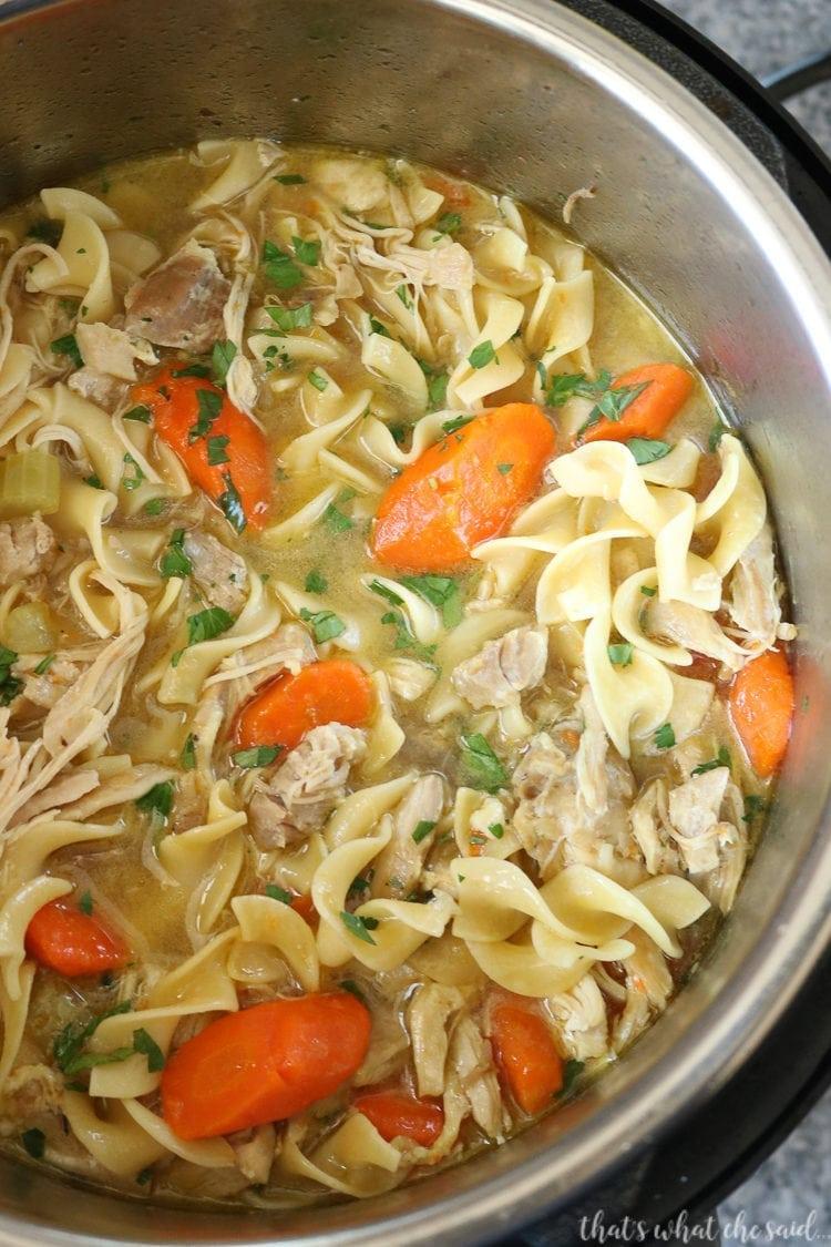 Instant Pot Chicken Noodle Soup in the instant pot pot, top down view