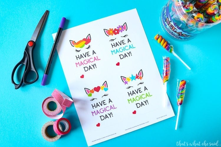 Supplies Needed for Unicorn Printable Valentine Cards