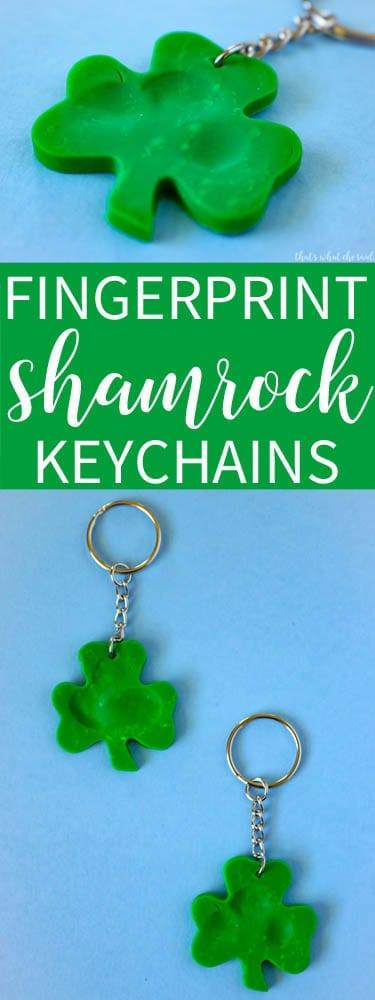 Keepsake Shamrock Fingerprint Key chains