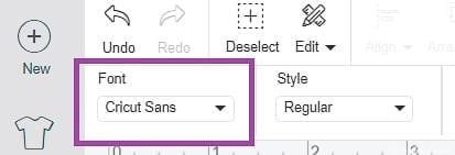 Select Font Drop down Menu from Font Edit Toolbar