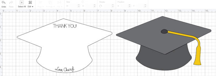 Use Text Tool to Write Thank You and Signature on Graduation Thank You Card