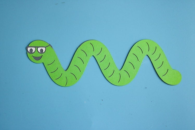 Paper Worm wearing glasses for first day of school