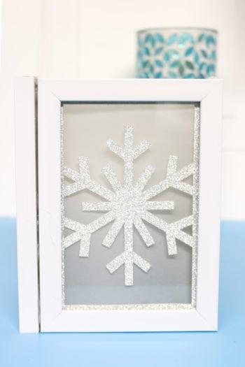 Snowflake chipboard insert into Photo Luminary
