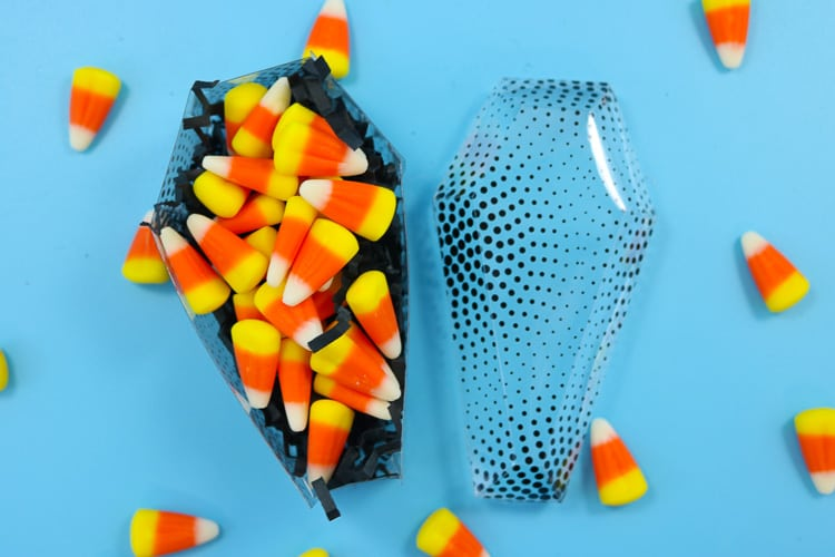Acetate Casket Treat Boxes with Black Crinkle Paper filler and Candy Corn