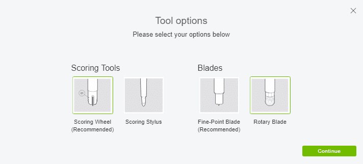 Cricut Design Space Screenshot on how and where to change cutting tools.