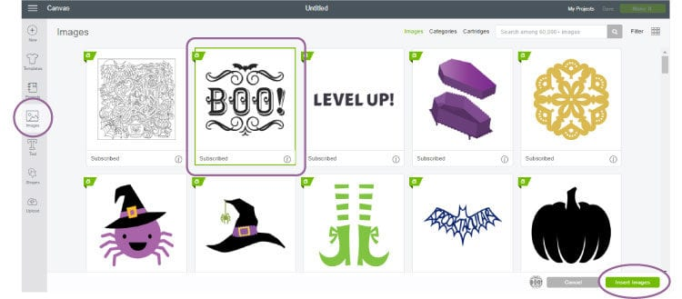 Screenshot of the icons to insert and use images in Cricut Design Space