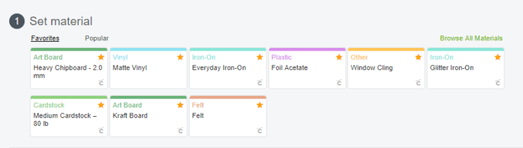 Screenshot of where to set material to cut in Cricut Design Space