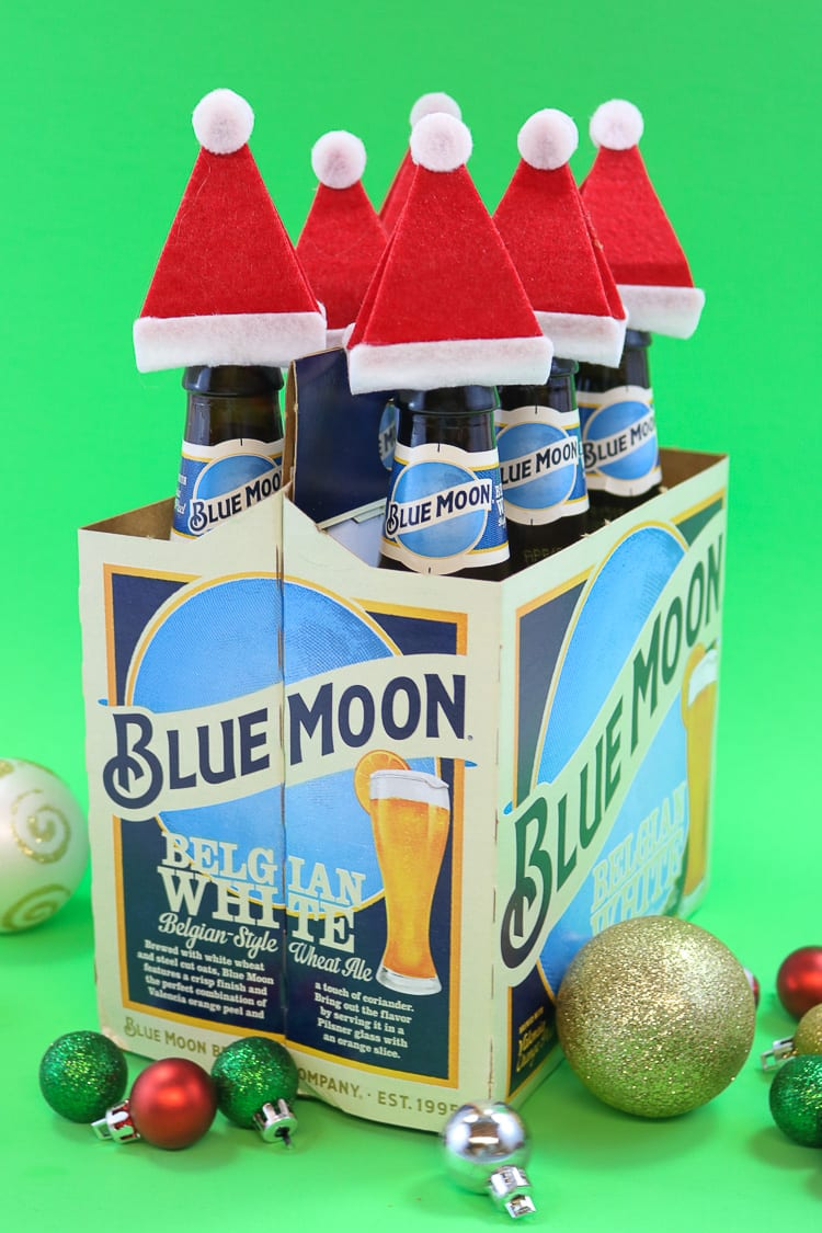 Blue Moon 6 pack with Santa Hat accessories