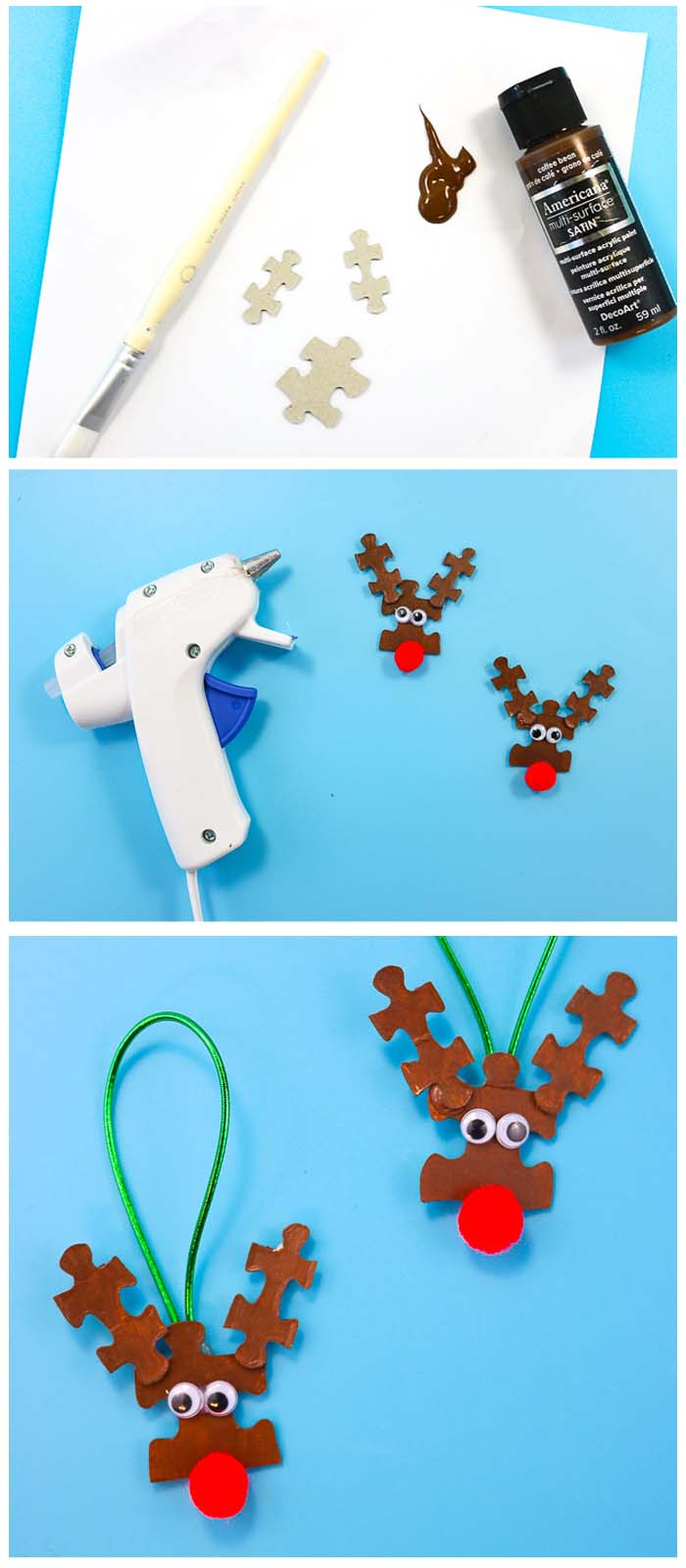 How to Make Puzzle Piece Reindeer Ornaments