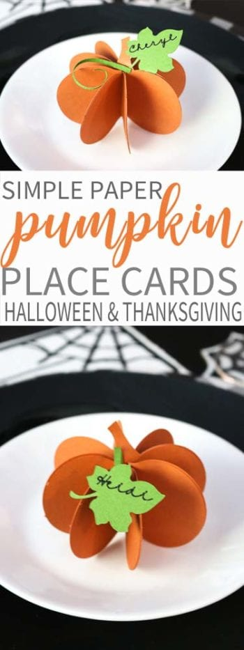 Simple Paper Pumpkins perfect for place cards! Use them Halloween through Thanksgiving!