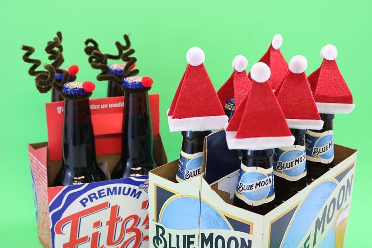 Reindeer and Santa Bottle Topper together