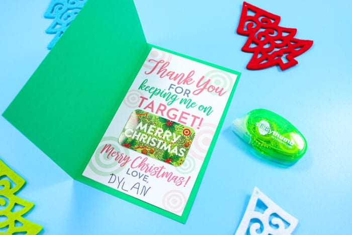 Make a card from cardstock, insert the printable and gift card and then gift!!