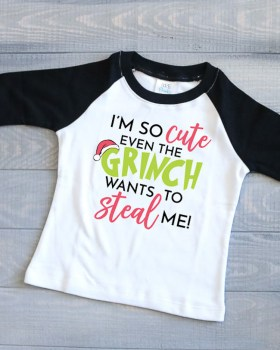 Children's Raglan T made into a Grinch Shirt