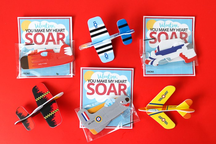 Printable Valentine Cards with Small Toy foam airplanes attached