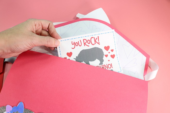 Inserting Valentines into the Envelope Valentine Box