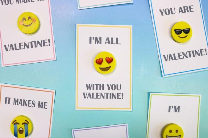 Close Up of Emoji Eraser Valentine Cards for class parties