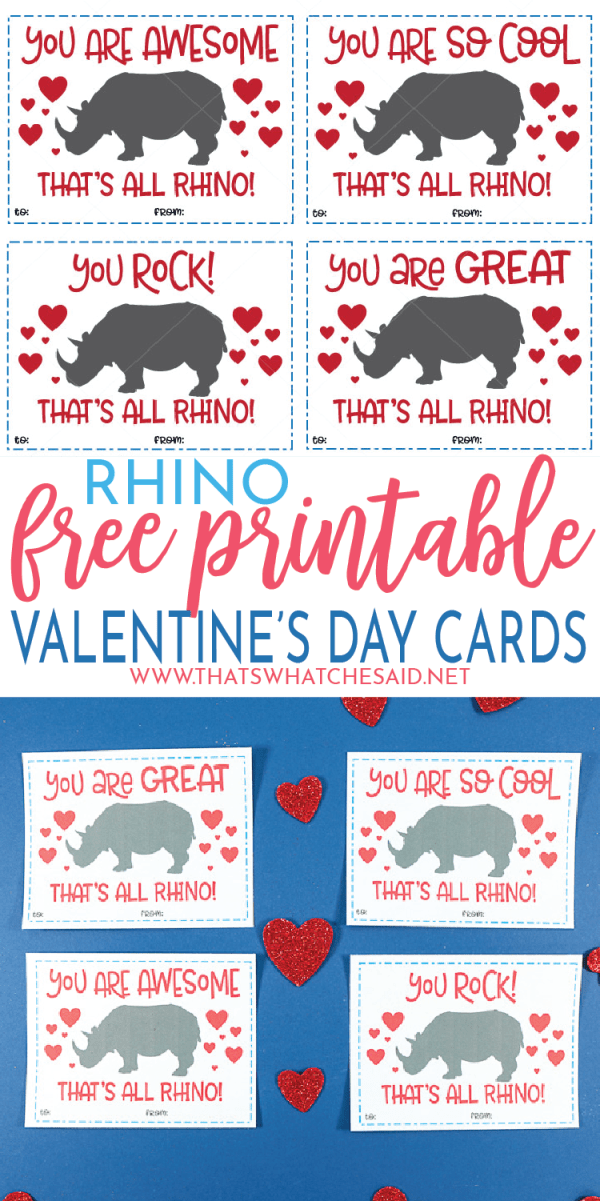 Grab these Free Valentine's Day Cards - Rhino Edition! They are fun to give, fun to receive and SO EASY to make! No extras required! #freeprintablevalentines #valentinescards #valentinesday