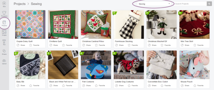 Screenshot of how to locate sewing projects within Cricut Design Space