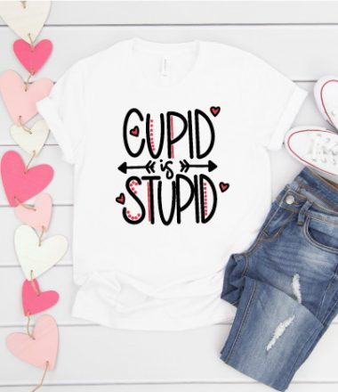 White T-Shirt with Converse and Jeans and Hand Lettered Valentine SVG pressed on shirt