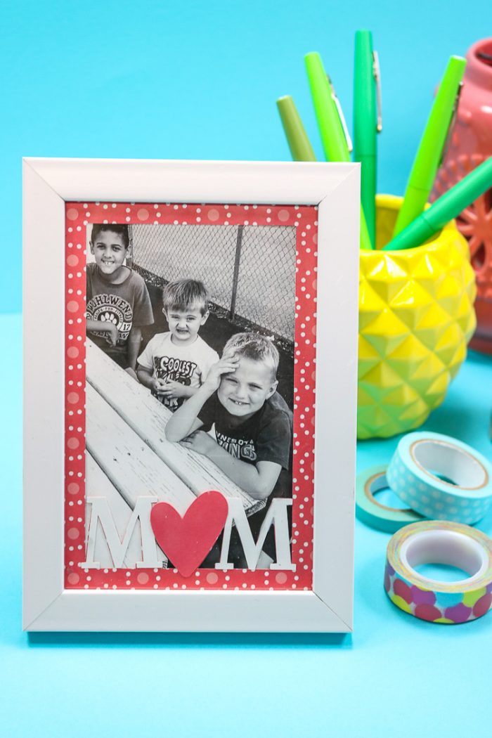 Mother's Day Frame staged on desk with pineapple pencil holder and washi tape