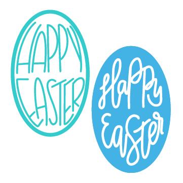 2 designs of hand lettered Happy Easter Egg SVG Files