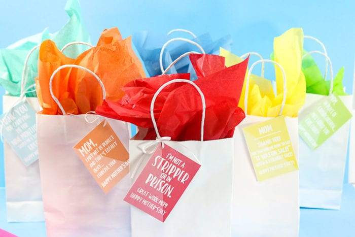White Gift bags with colored funny Mother's Day Gift cards.  Bags have coordinating tissue paper to match the gift tags
