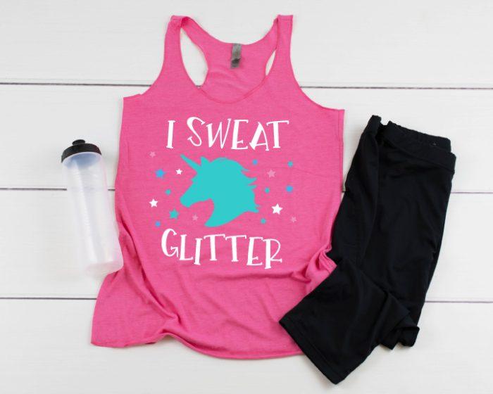 "Workout gear with ""I Sweat Unicorn Glitter"" Design on a racerback workout tank!"