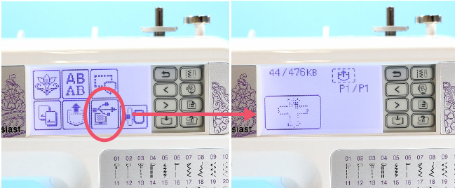 Close ups of the Data Transfer Button and the window that opens with the embroidery designs.