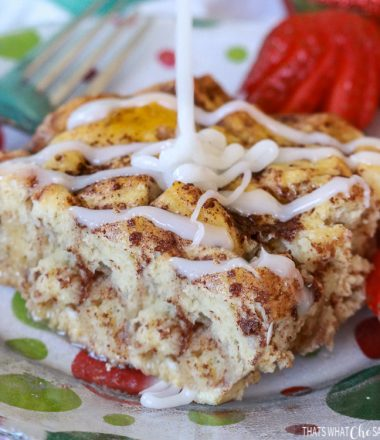 Cinnamon Roll French Toast Bake Close up with Icing being drizzled
