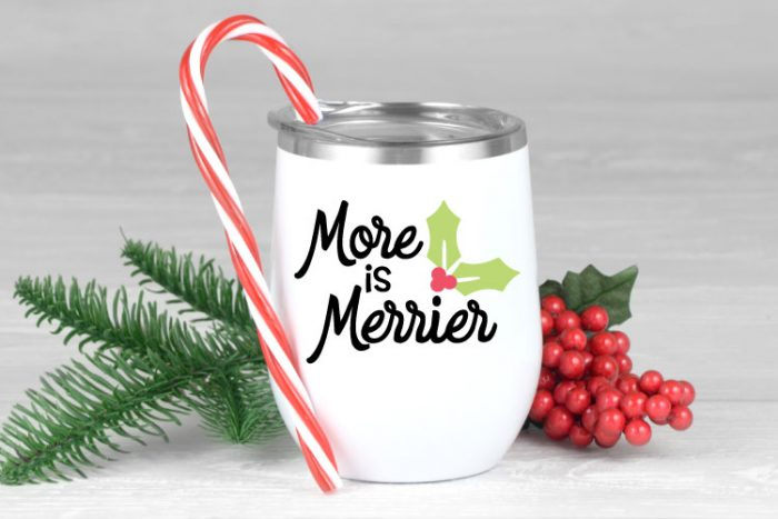 White Wine Tumblers with More is Merrier in red, green and black adhesive vinyl