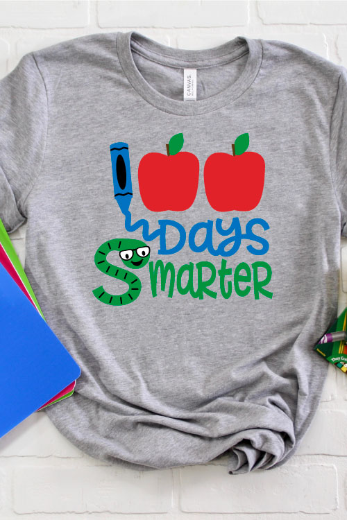 Grey shirt with colorful 100 Days Smarter Design