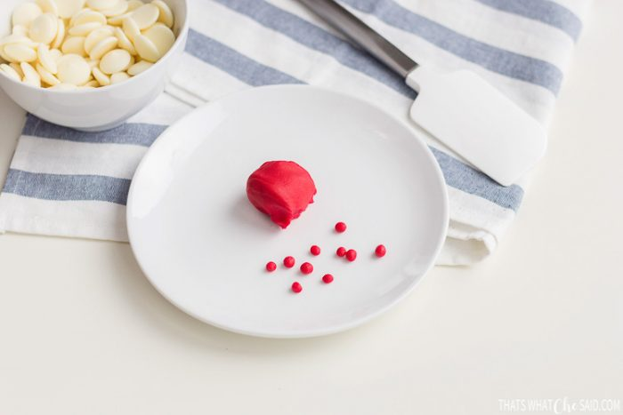 Red Fondant rolled into small quarter inch balls