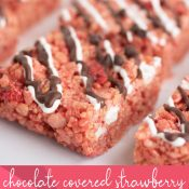 Close up of Chocolate covered Strawberry Rice Krispie Treat