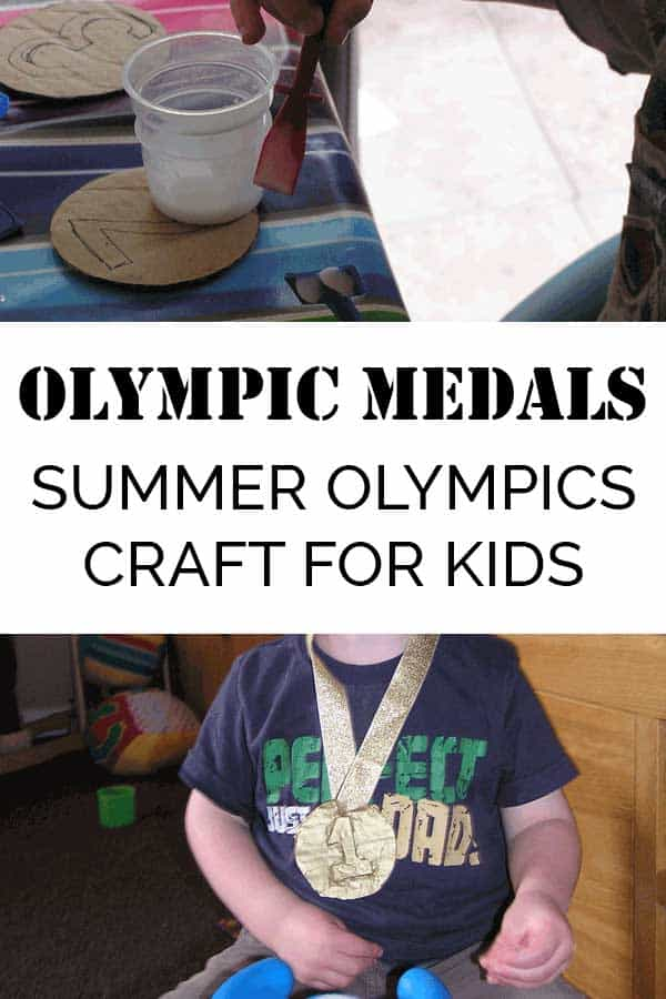Olympic medals made from cardboard and gold paint with ribbons.