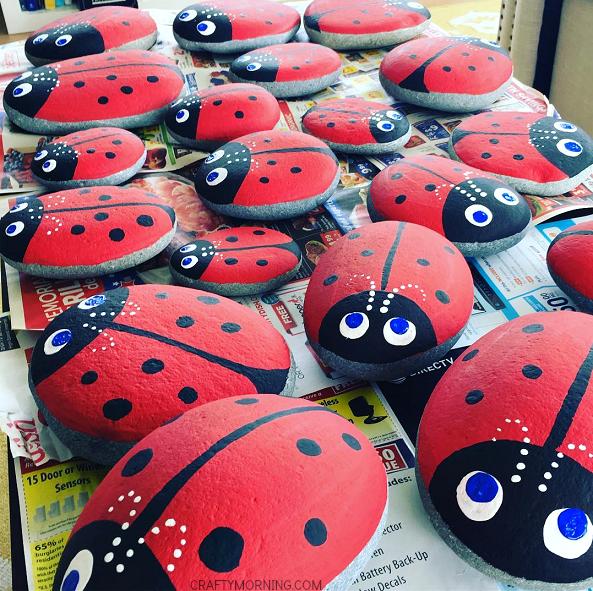 Large rocks painted as ladybugs.