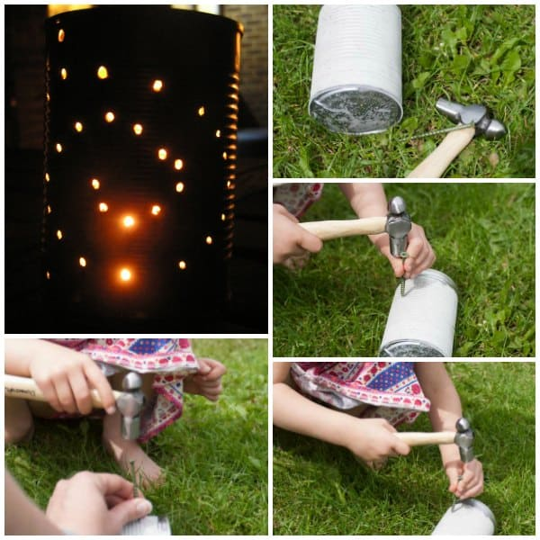 Making a lantern out of a tin can using a hammer and nails for the holes.