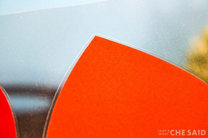 Close up of small lamination seam around object