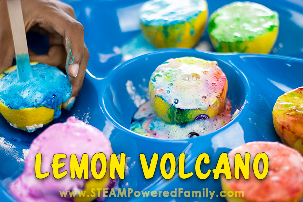 Erupting lemon volcanoes science experiment.