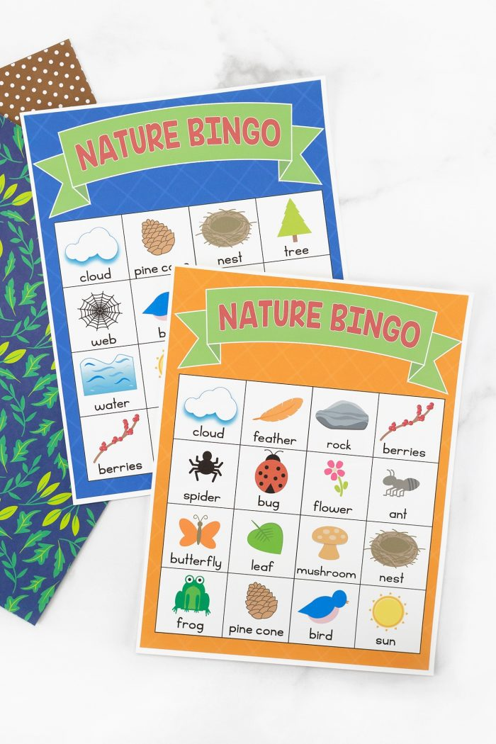 Printable nature bingo cards.