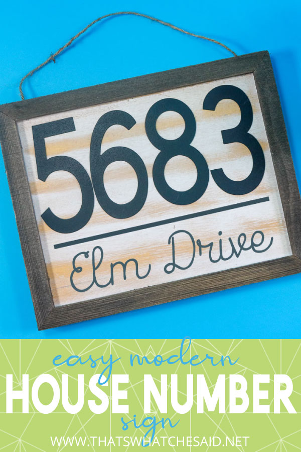 Vertical House Number Sign Pin with description for Pinterest