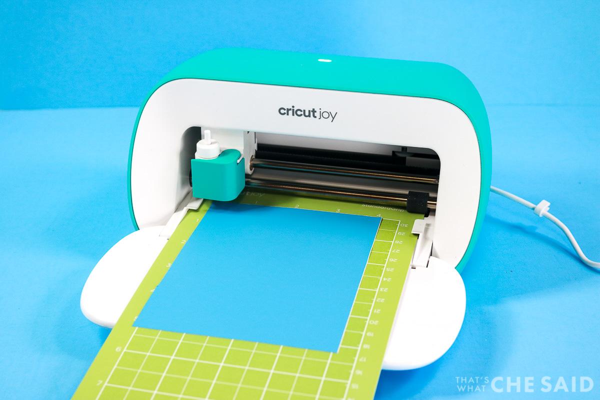 Cricut Joy cutting Blue Adhesive vinyl on Standard Mat