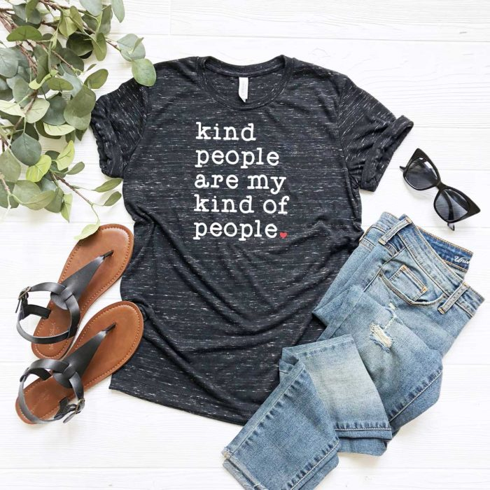Black Grey Heather Shirt with Kind People are My Kind of People SVG on it with iron on - Square Format