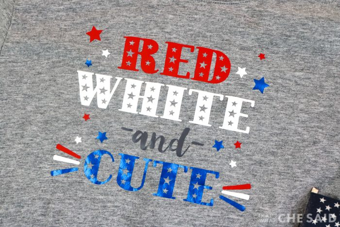 Close up of Red White and Cute design to show metallic blue iron on