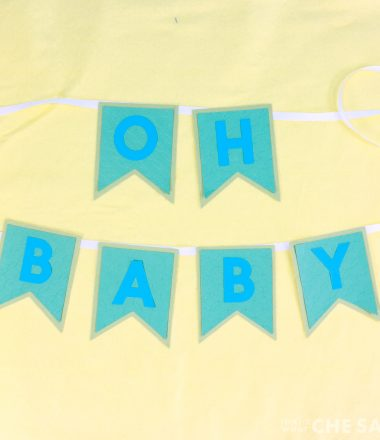 """""""Oh Baby"""" pennant baby shower banner"""